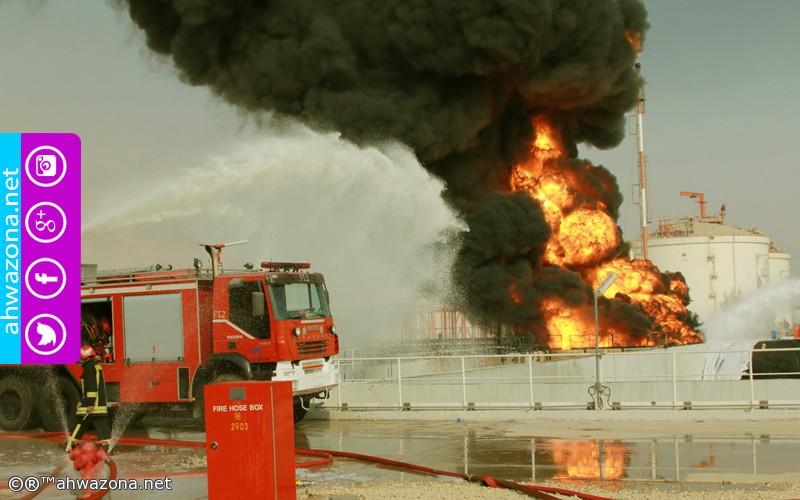 إندلاع حريق ضخم في مصفاة غاز بجنوب محافظة أبوشهر المحتلة