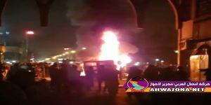 خروج حشود غفيرة للإحتجاج في وسط العاصمة الأحوازية