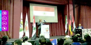 أحمد مولى رئيس حركة النضال يلقي كلمة الحركة في مؤتمر الجبهة الديمقراطية